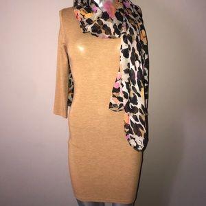 3/4 sleeve camel mini dress